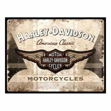 Vintage muurplaat harley davidson motorcycles 30 x 40 cm