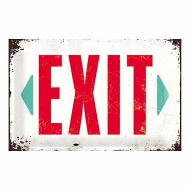 Vintage muurplaatje exit 20 x 30 cm
