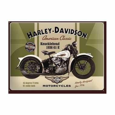 Vintage muurplaatje harley davidson 15 x 20 cm