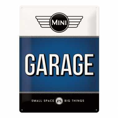 Vintage muurplaatje mini garage 30 x 40 cm