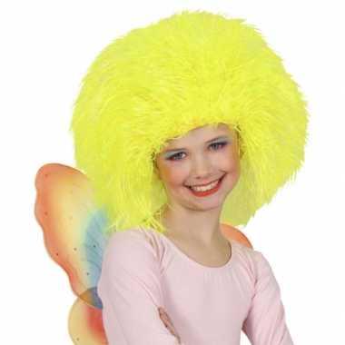 Vintage neon gele afro pruik voor kinderen