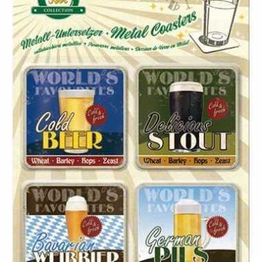 Vintage onderzetters biertjes 4 stuks