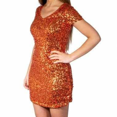 Vintage oranje glitter pailletten disco jurkje dames