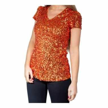 Vintage oranje glitter pailletten disco shirt dames