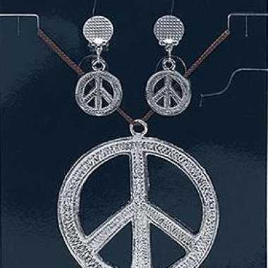 Vintage peace ketting en oorbellen