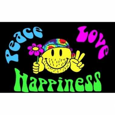 Vintage peace, love, happiness vlag
