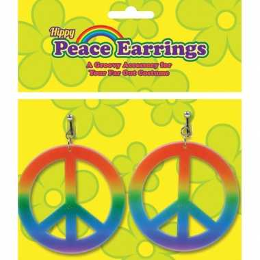Vintage peace oorbellen