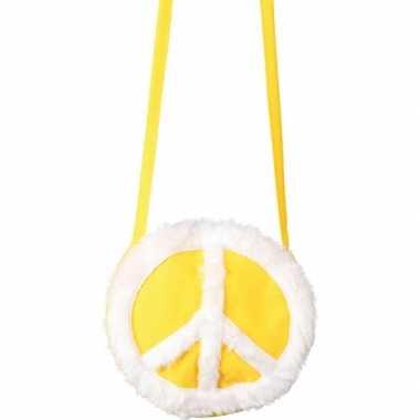 Vintage peace tasje geel