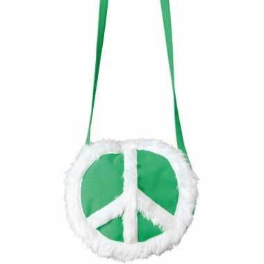 Vintage peace tasje groen