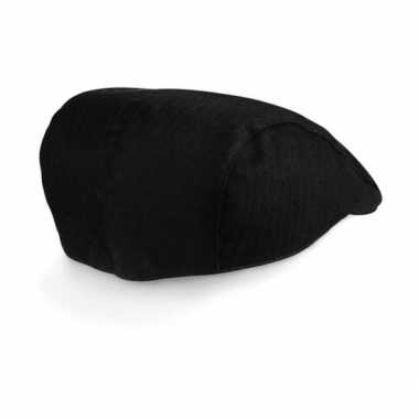 Vintage pet cap visgraat dames zwart
