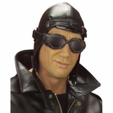 Vintage piloot / race pet zwart