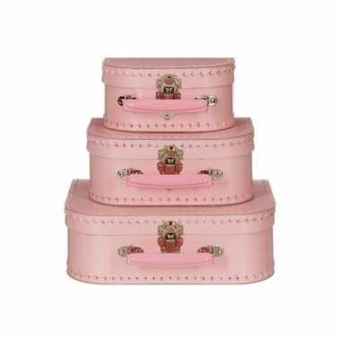 Vintage poppen koffertje licht roze 16 cm