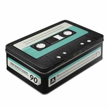 Vintage retro cassette bewaarblik 23 cm