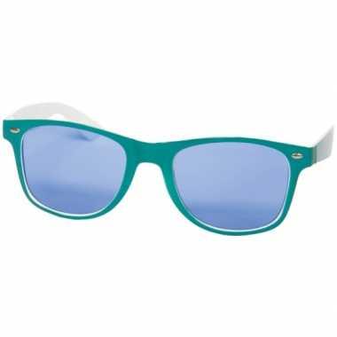 Vintage retro feestbril blauw/wit