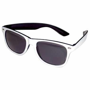 Vintage retro feestbril zwart/wit
