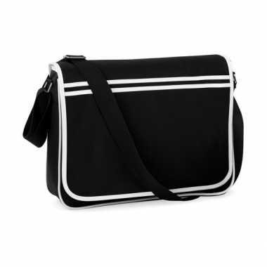 Vintage retro messenger tas zwart met wit