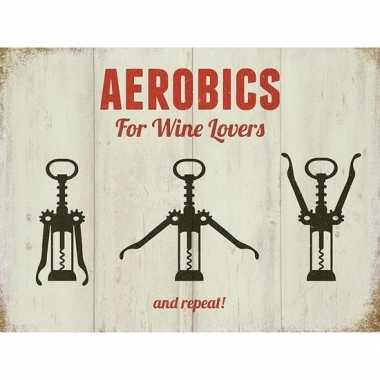 Vintage retro muurplaatje aerobics for wine lovers 15 x 20 cm