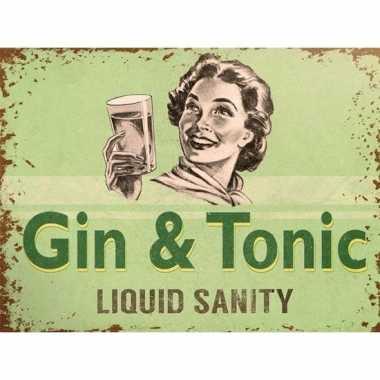 Vintage retro muurplaatje gin tonic liquid sanity 15 x 20 cm