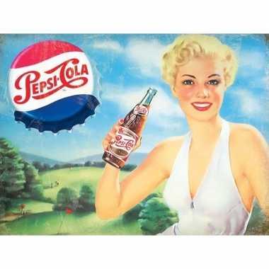 Vintage retro muurplaatje pepsi cola met dame 30 x 40 cm