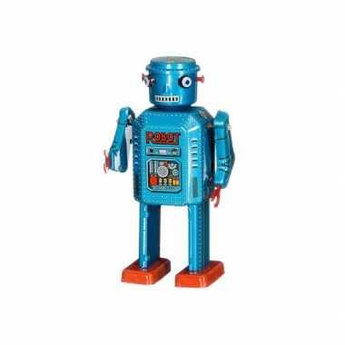 Vintage retro robot 13 cm blauw