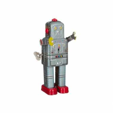 Vintage retro robot 20 cm grijs