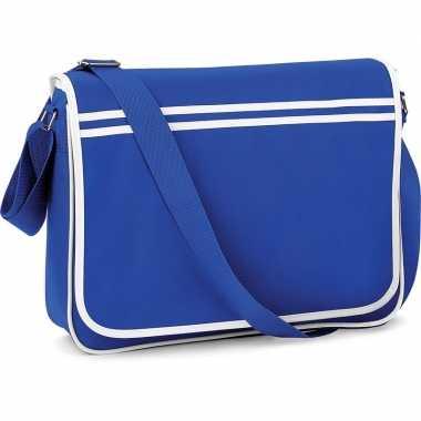 Vintage retro schoudertas/aktetas blauw/wit 40 cm voor dames/heren