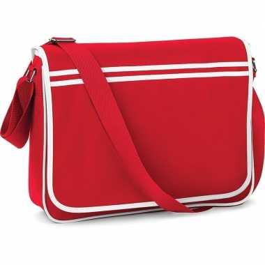 Vintage retro schoudertas/aktetas rood/wit 40 cm voor dames/heren