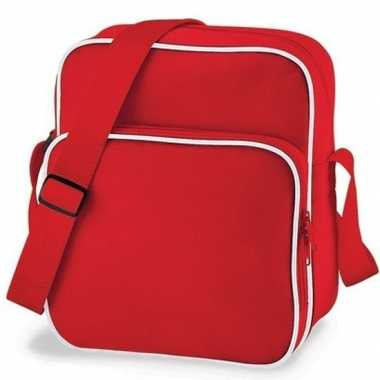 Vintage retro schoudertas rood 10 liter