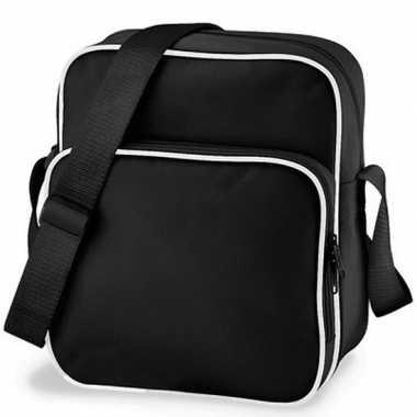 Vintage retro schoudertas zwart 10 liter