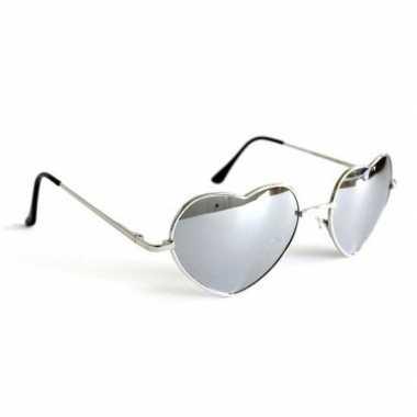 Vintage retro zonnebril hartvorm zilveren spiegelglazen voor volwasse