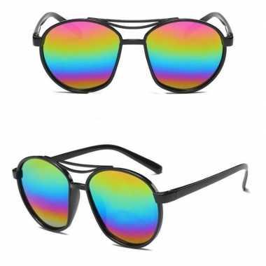 Vintage retro zonnebril zwart met olie/spiegel glazen voor volwassene