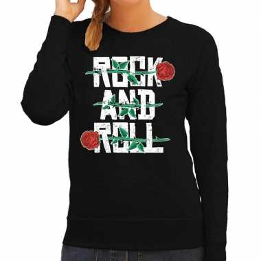 Vintage rock and roll sweater zwart voor dames