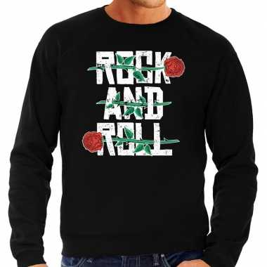 Vintage rock and roll sweater zwart voor heren