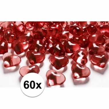 Vintage rode decoratie hartjes diamantjes 60 stuks
