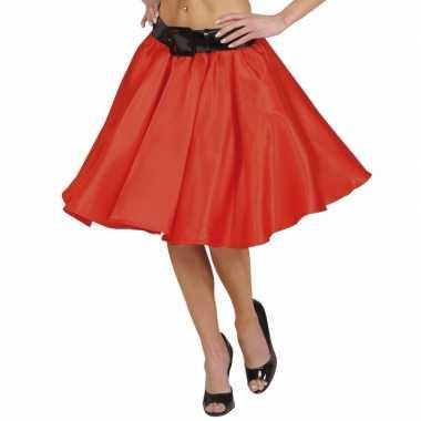 Vintage rode fifties rok met petticoat voor dames