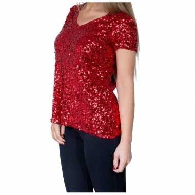 Vintage rode glitter pailletten disco shirt dames