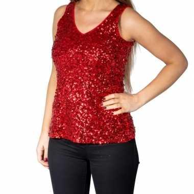 Vintage rode glitter pailletten disco topje/ mouwloos shirt dames