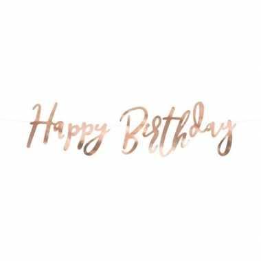 Vintage rose gouden feest slinger happy birthday 62 cm