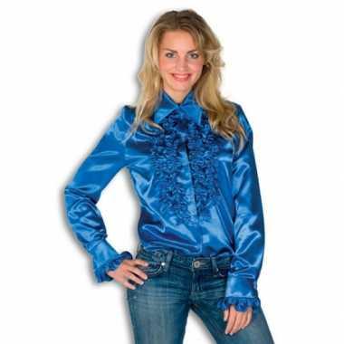 Vintage rouche overhemd blauw voor dames