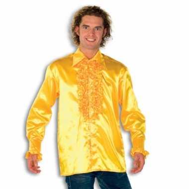 Vintage rouche overhemd voor heren geel