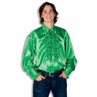 Vintage rouche overhemd voor heren groen