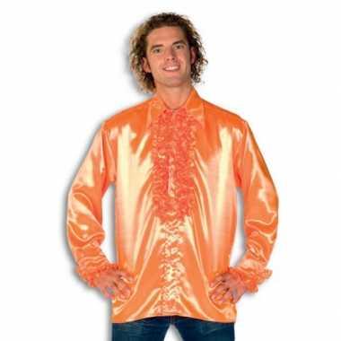 Vintage rouche overhemd voor heren oranje