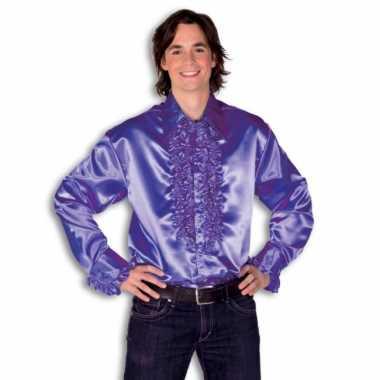 Vintage rouche overhemd voor heren paars