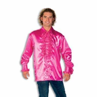 Vintage rouche overhemd voor heren roze