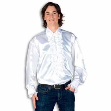 Vintage rouche overhemd voor heren wit