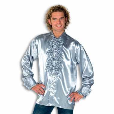 Vintage rouche overhemd voor heren zilver