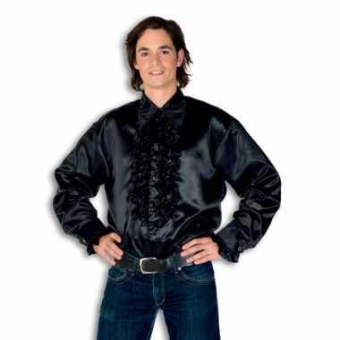Vintage rouche overhemd voor heren zwart