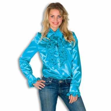 Vintage rouches blouse blauw dames