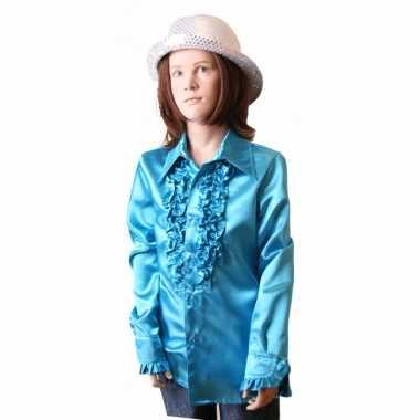 Vintage rouches blouse blauw voor meisjes