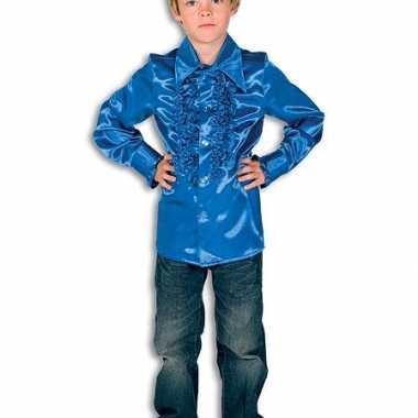 Vintage rouches blouse kobalt voor jongens